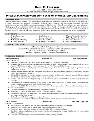 Telecommunication Resume] Resume Example, Telecom Executive Resume ...