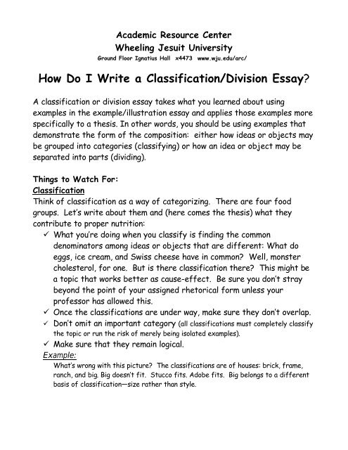 How Do I Write a Classification/Division Essay? - Wheeling Jesuit
