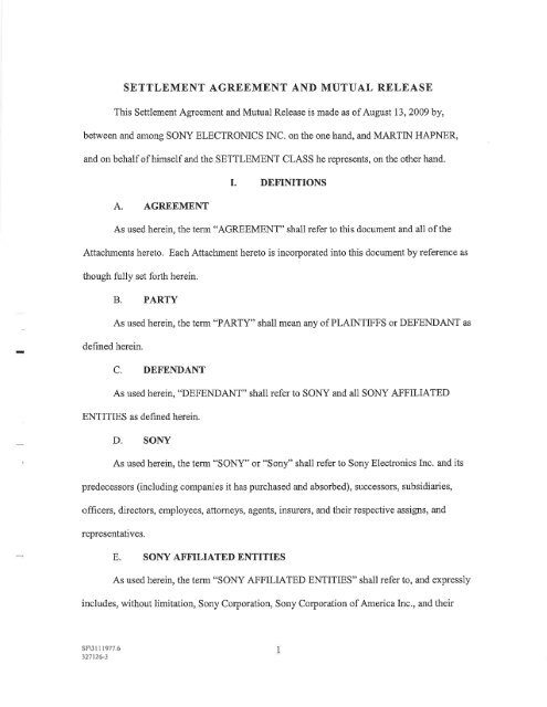 settlement agreement and mutual release - Sony esupport