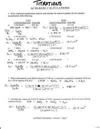 Titrations Practice Worksheet. Worksheets. Ratchasima ...