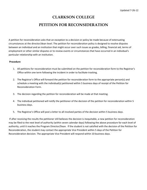 Petition for Reconsideration form - Clarkson College