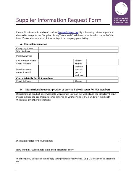 Supplier Information Request Form - The Sustainable Restaurant