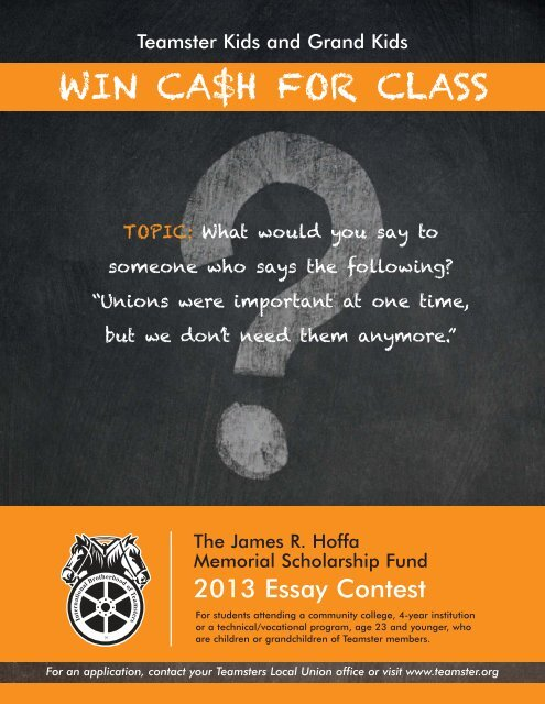win ca$h for class - International Brotherhood of Teamsters Local 856