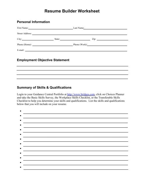 Resume Builder Worksheet - Minot Public Schools