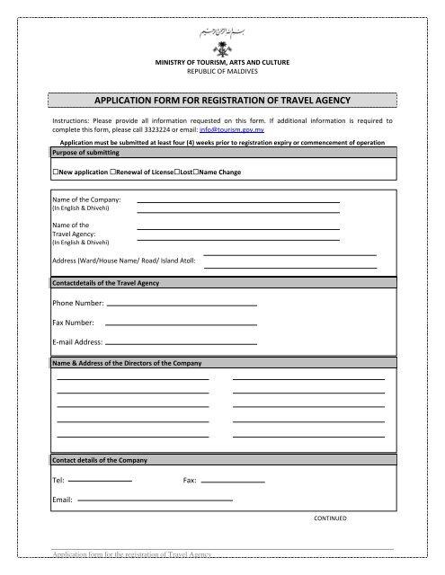 Application for Travel Agency Registration - English (PDF)