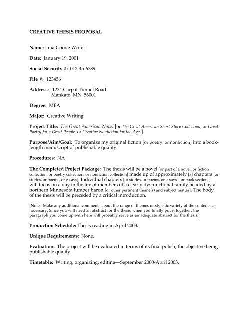 Sample Thesis Proposal - English Department