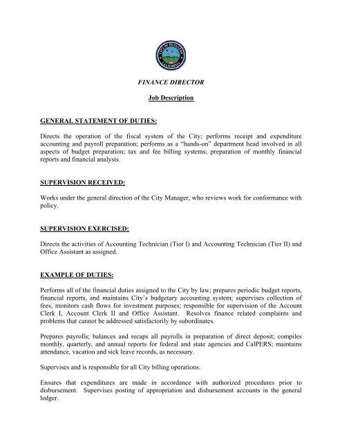 FINANCE DIRECTOR Job Description GENERAL - City of Buellton