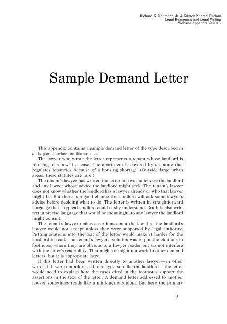 Sample Demand Letter (appendix)