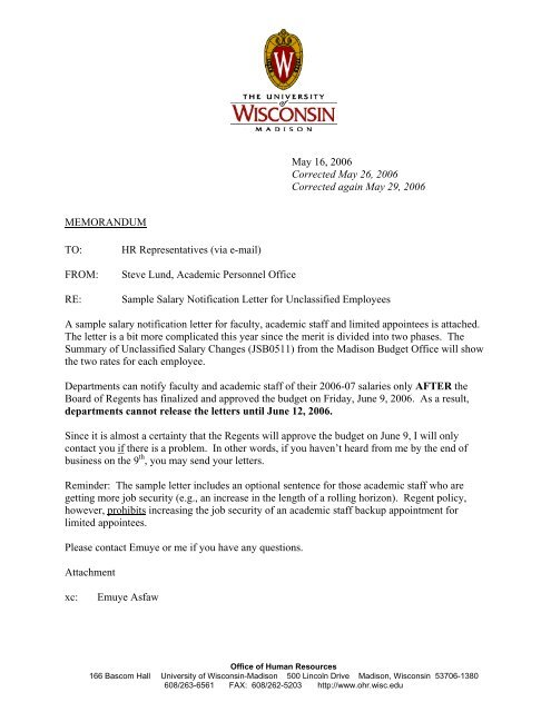Sample Salary Notification Letter for Unclassified Employees\u20142006