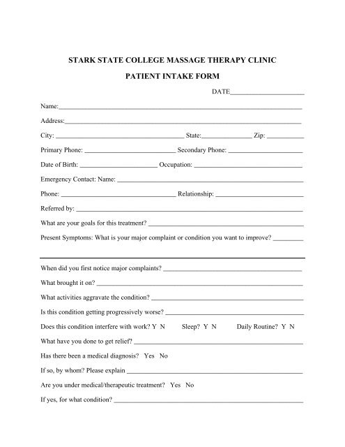 stark state college massage therapy clinic patient intake form