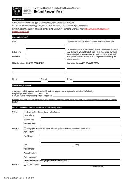 Refund Request Form - Swinburne University of Technology