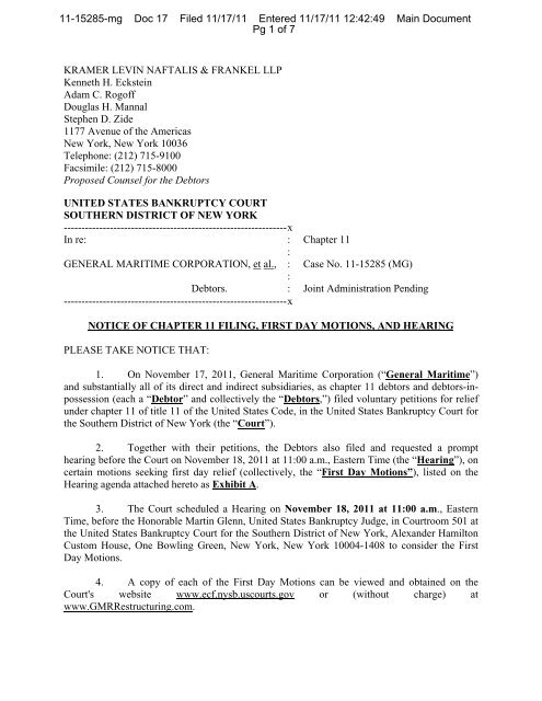 Notice of Chapter 11 Filing, First Day Motions and Hearing - GMR