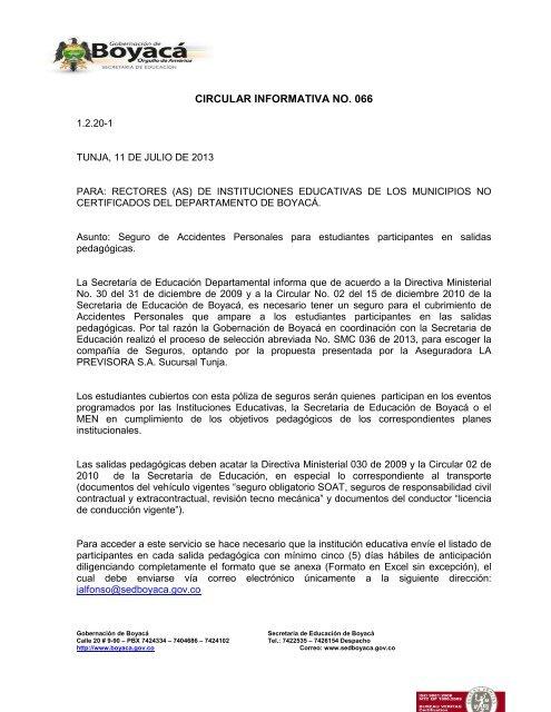 Circular informativa No 066 - Despacho - Secretaria de Educación