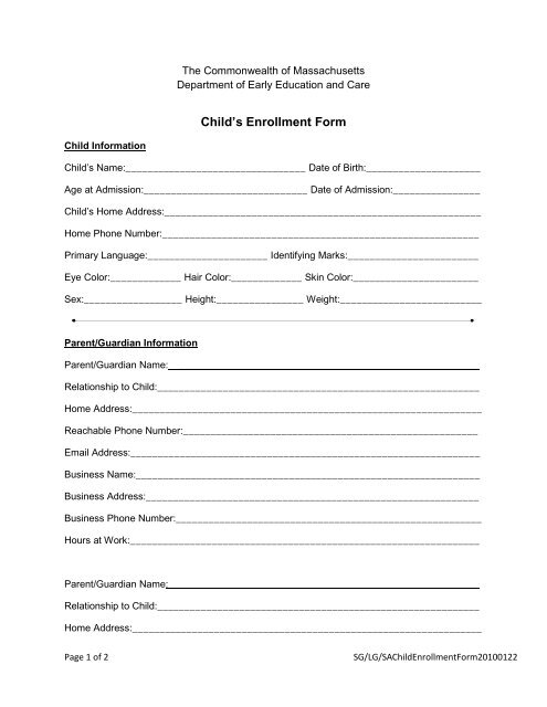 Child\u0027s Enrollment Form - Countryside Child Care