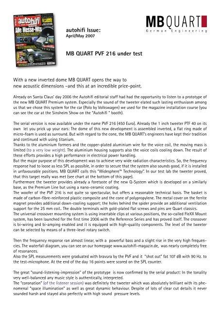 autohifi Issue MB QUART PVF 216 under test - AZ Trading