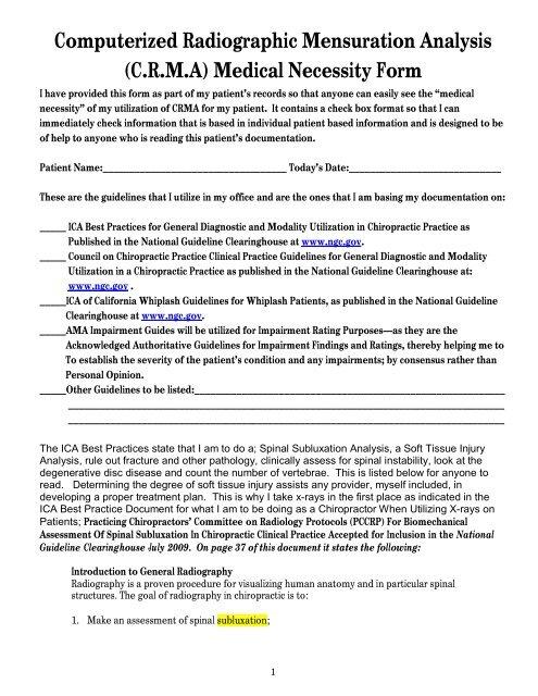 CRMA Medical Necessity Form PDF - Spinalkineticsinfo