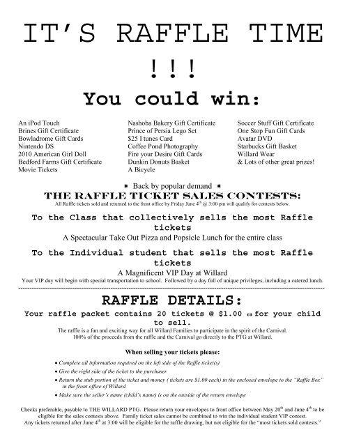 Raffle Ticket flyer - willardptgorg» willard