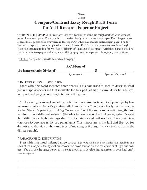 Compare and contrast research paper example Thesis Compare And