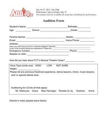 theatre audition form template - Heartimpulsar
