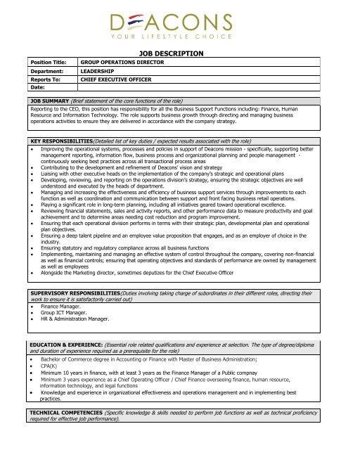 JOB DESCRIPTION - Deacons Kenya Limited