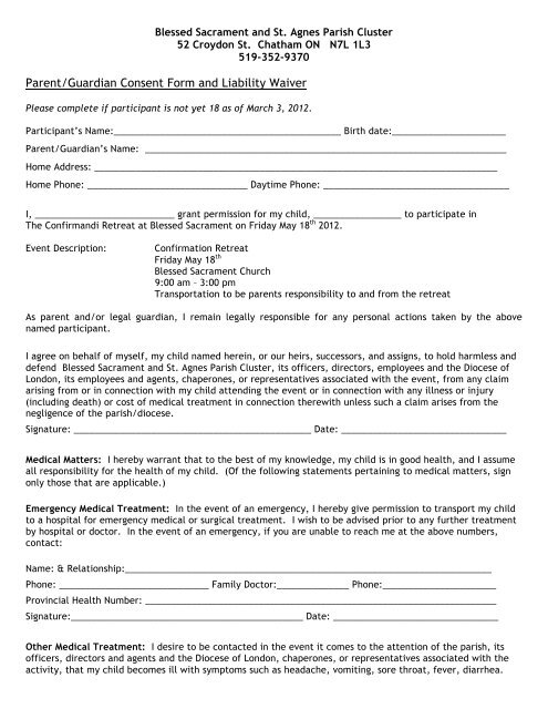Parent/Guardian Consent Form and Liability Waiver - Diocese of