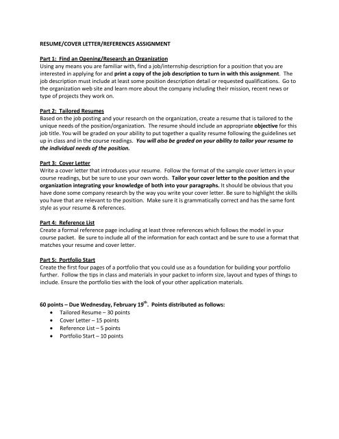 Resume, Cover Letter, References  Portfolio Start Assignment (pdf)