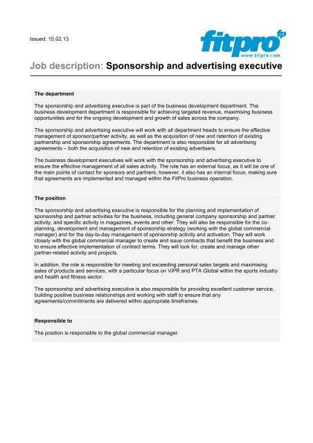 Sponsorship  Advertising Executive job description - Fitness