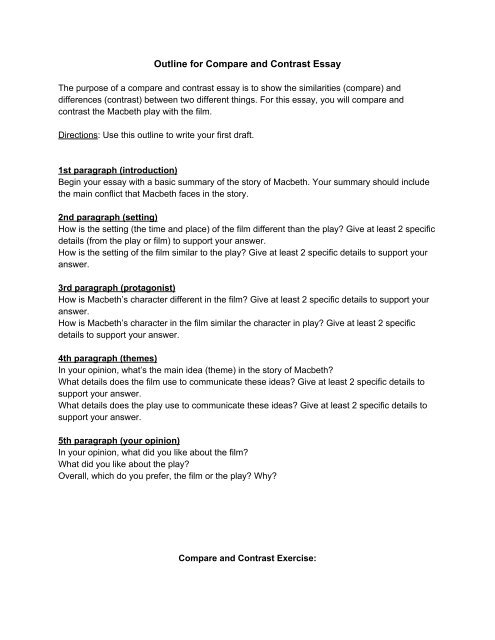 Outline for Compare and Contrast Essay - Odyssey Charter School