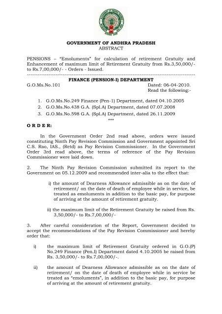 GOMsNo101 FINANCE (PENSION-I - Seriapgovin