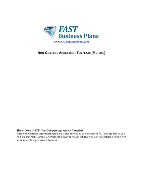 Non-Compete Agreement Template - Fast Business Plans