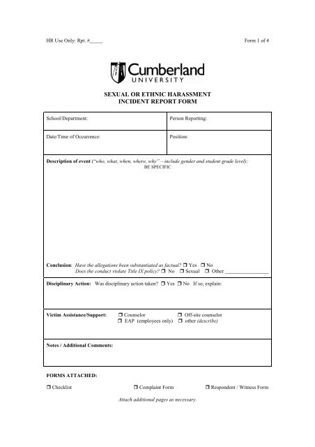 Sexual or Ethnic Harassment Incident Report Form