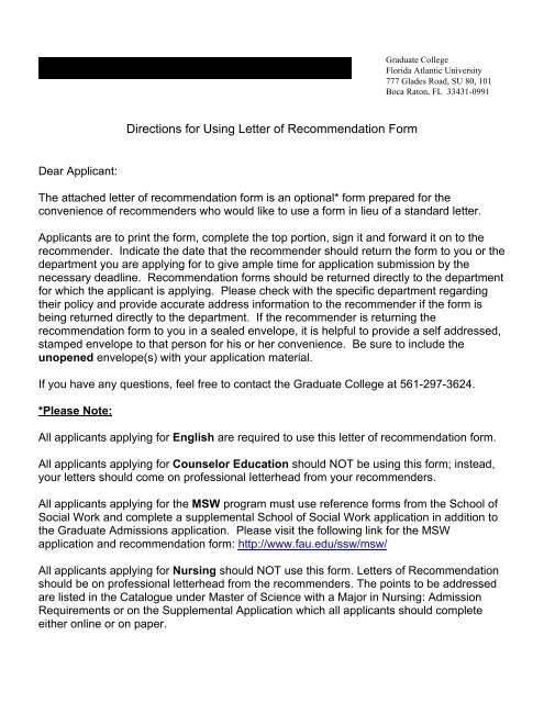 Letter Of Recommendation Form - the Psychology Department at FAU