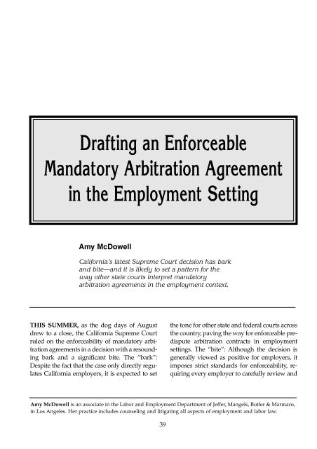 Drafting an Enforceable Mandatory Arbitration Agreement - ALI CLE