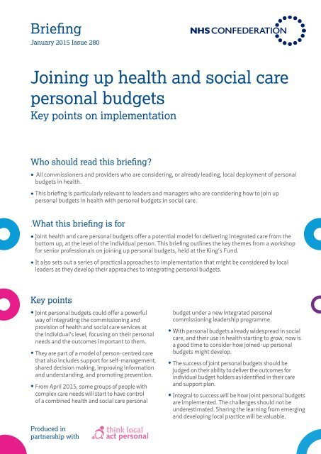 Joining up health and social care personal budgets final for website