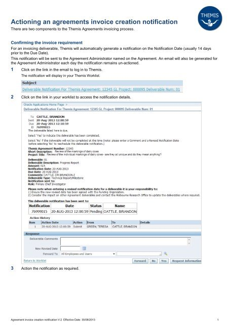 Actioning an agreements invoice creation notification - Themis