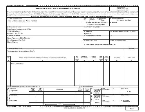DD Form 1149, Requisition and Invoice/Shipping Document, June