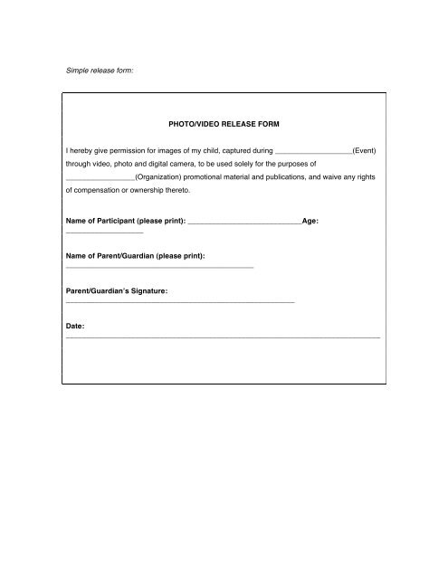 Simple release form PHOTO/VIDEO RELEASE FORM I - English