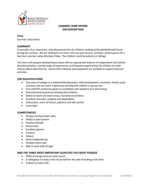 summer camp intern job description title summary job qualifications