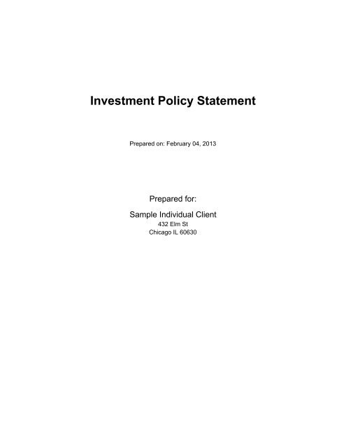 Investment Policy Statement - Fi360