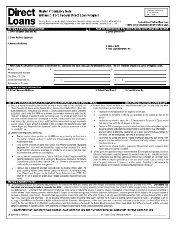 Federal Stafford Loan Master Promissory Note (MPN)(continued)