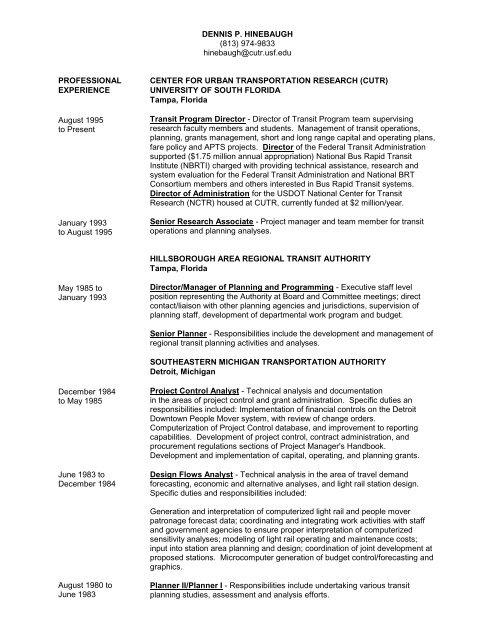 see a complete CV/Resume - Center for Urban Transportation