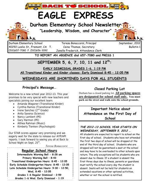 EAGLE EXPRESS Durham Elementary School Newsletter