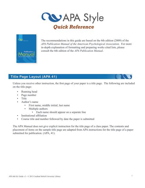 APA 6th Edition Quick Reference Guide - Cardinal Stritch University