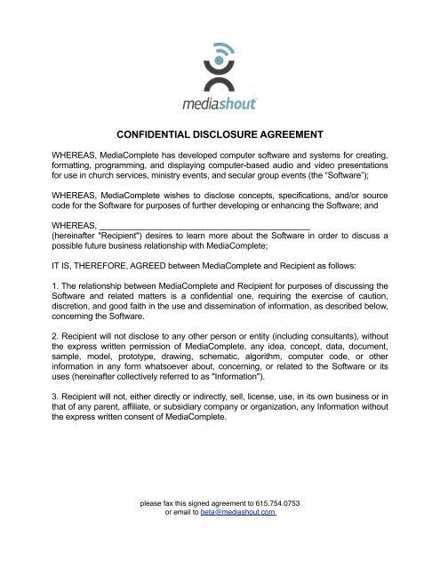 CONFIDENTIAL DISCLOSURE AGREEMENT - MediaShout