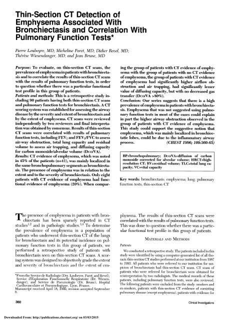 Pulmonary Function Tests*