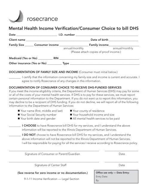 Mental Health Income Verification Form - Rosecrance Health Network
