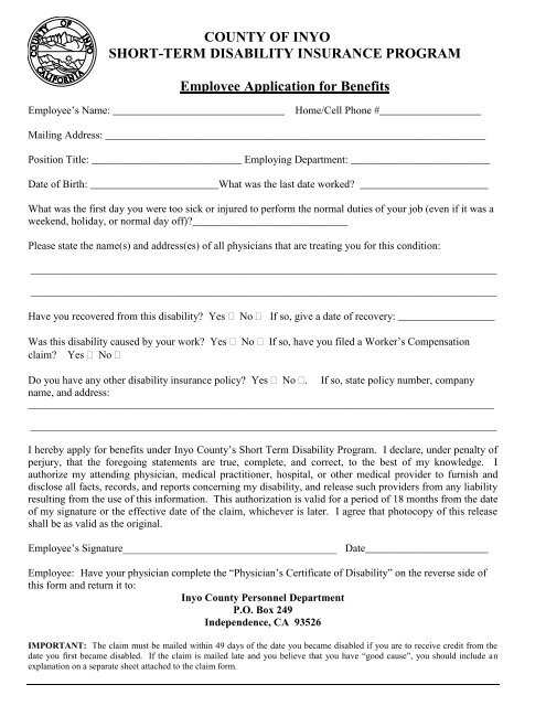 Short Term Disability Application Form - County of Inyo