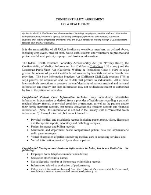 CONFIDENTIALITY AGREEMENT - Office of Compliance Services