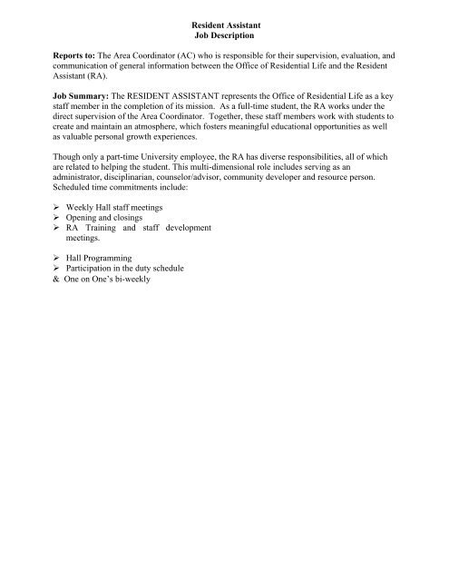 Resident Assistant Job Description Reports to - Salve Regina