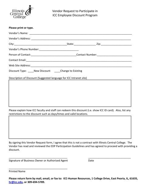 Vendor Request to Participate in ICC Employee Discount Program